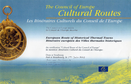 "Zertifikat ""Cultural Route of the Council of Europe"""