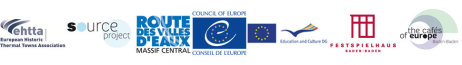 Logos: EHTTA, source project, ROUTE DES VILLES D'EAUX, COUNCIL OF EUROPE, Education and Culture DG, Festspielhaus Baden-Baden, the cafés of europe